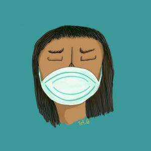 woman with protective face mask illustration